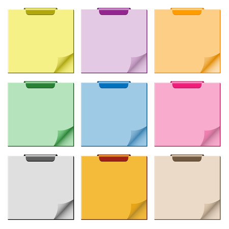 Notepad set in assorted colors with page curled up, clip at top of pad and ample copy space for text.