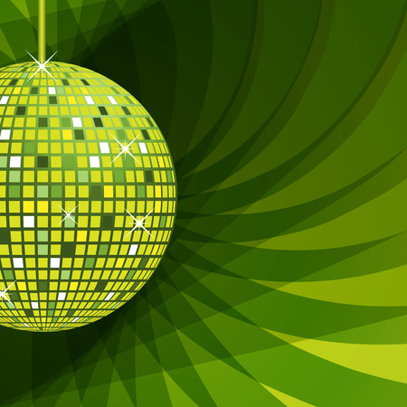 Illustration pour Disco ball in green with sparkles set on an elegant green abstract background. - image libre de droit