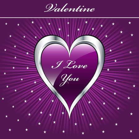 Valentine love heart in purple and silver on sunburst background with stars. Copyspace for text.