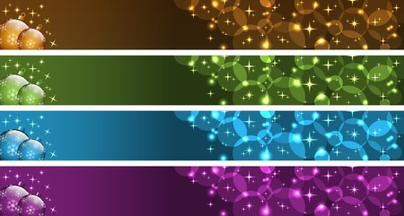 Christmas banners with xmas balls, stars and bubbles. Gold, green, blue and purple. Copy space for text.