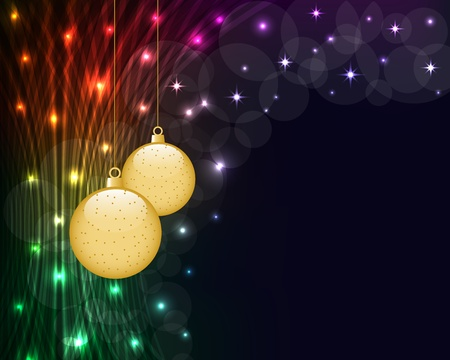 Illustration pour Christmas balls on dark abstract background of glowing neon lights. Copy space for text. - image libre de droit