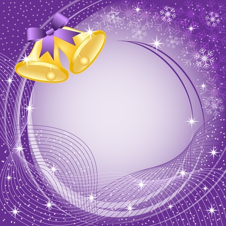 Gold christmas bells with bow, snow, stars and snowflakes on purple background. Copy space for text.