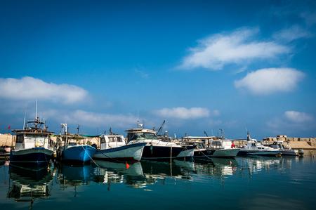 Fishing boats anchored in the harbor at Jaffa,Israel