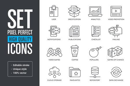 Illustration pour Set pixel perfect high quality lines icons - image libre de droit