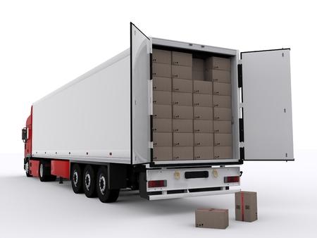 Foto de truck with open trailer - Imagen libre de derechos