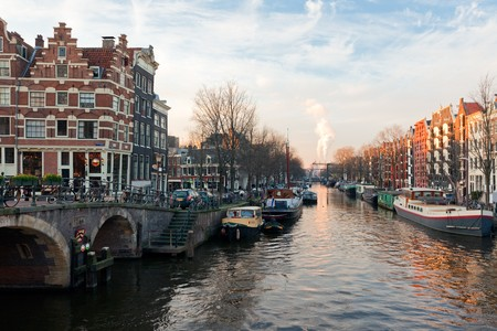 Amsterdam canals winter sunny view. horizontal shot