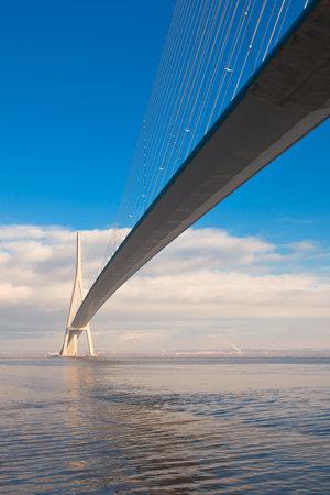 Photo pour Normandy bridge view (Pont de Normandie, France). Vertical shot - image libre de droit