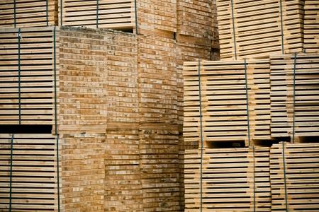 New Stacked Pallets at Wood Factory. Horizontal toned shot