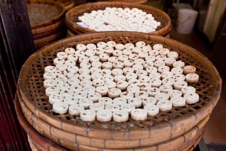 Famous Traditional Macau Almond cookies production. Horizontal shot