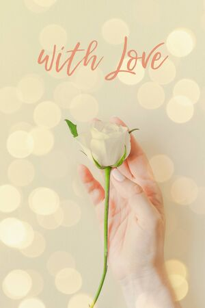 Photo pour Creative top view postcard woman hand holding fresh white rose, text with Love on pastel paper background with bokeh. Template holiday postcard wedding invitation card - image libre de droit