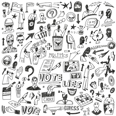 Politics - set vector icons in sketch style