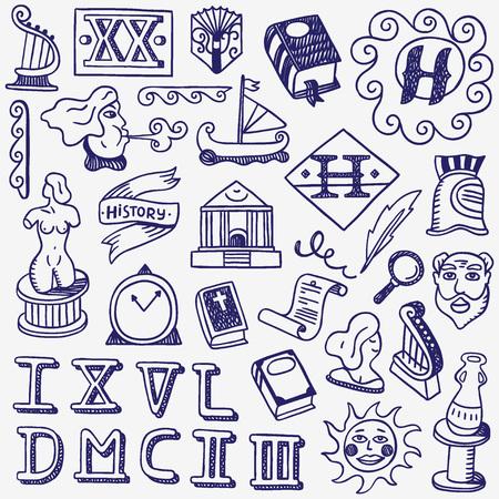 Illustration pour history - set  icons in sketch style , design elements - image libre de droit