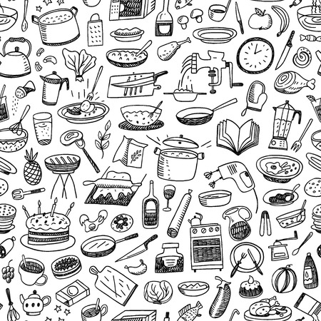 cookery , natural food - seamless pattern with icons in sketch style