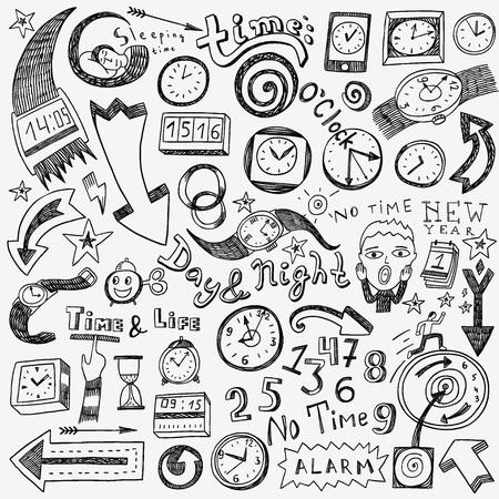 Illustration pour time clock set icons in sketch style - image libre de droit