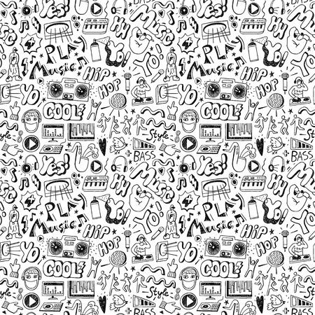 Ilustración de Music party seamless pattern with icons in sketch style - Imagen libre de derechos