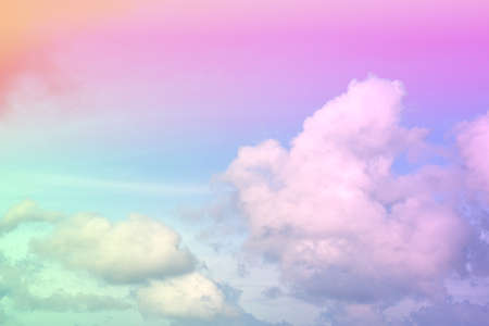 beauty abstract sweet pastel soft pink and green with fluffy clouds on sky. multi color rainbow image. fantasy growing light