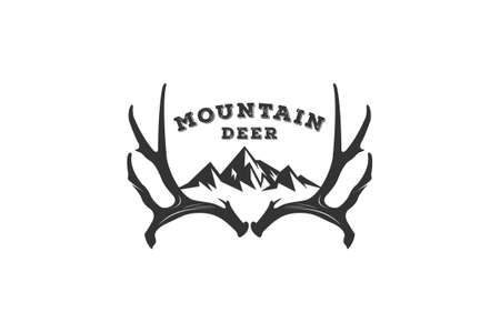 deer mountain logo with a mountain on a deer antler depicting mountains filled with herds of deer