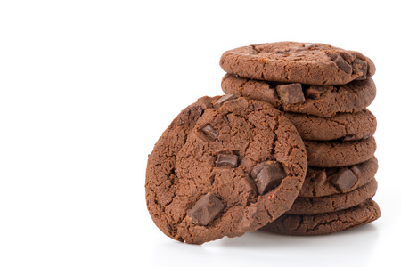 soft dark chocolate brownie cookies on white
