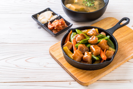 pork steak japanese style isolated on white background