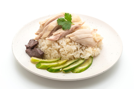 Hainanese Chicken Rice Or Steamed Chicken Rice Isolated On