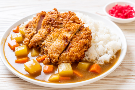Foto de Crispy fried pork cutlet with curry and rice - Japanese food style - Imagen libre de derechos
