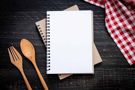 Photo for blank notebook for text note on wooden surface and wooden spoon and fork with copy sapce - Royalty Free Image