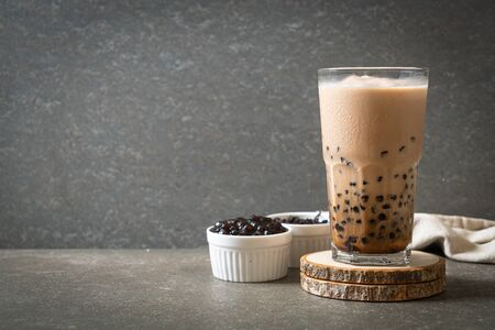 Photo for Taiwan milk tea with bubbles - popular Asian drink - Royalty Free Image