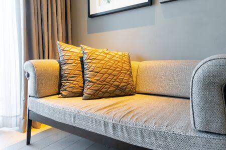 Photo pour beautiful pillows decoration on sofa in living room interior - image libre de droit