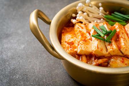 Photo pour 'Kimchi Jjigae' or Kimchi Soup with Soft Tofu or Korean Kimchi Stew  - Korean Food Traditional Style - image libre de droit