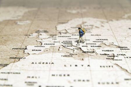 Tiny traveler model walk on map
