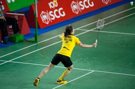 BANGKOK,THAILAND – AUGUST 31   Nitchaon Jindaphon badminton player in action during SCG All Thailand Badminton Championships at Nimibutr National Indoor Stadium on August 31,2013 in Bangkok,Thailand