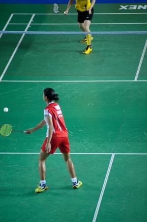 BANGKOK,THAILAND – AUGUST 31   Porntip Buranaprasert badminton player in action during SCG All Thailand Badminton Championships at Nimibutr National Indoor Stadium on August 31,2013 in Bangkok,Thailand