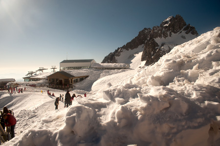 Jade Dragon snow mountain near Lijiang in Yunan province, Southwestern China  Its highest peak is named Shanzidou