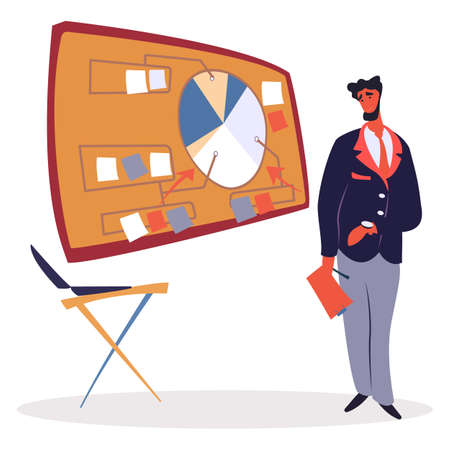 Man stand near chart board with data diagram. Person in suit on business presentation with tablet. Scoreboard, chair and businessman. Tasks appointment and time organizing, vector illustration