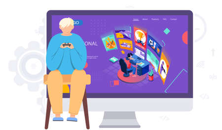 Illustration for A teenager with a gamepad in his hands participates in an online tournament in a video game. The player watches the online competition and repeats the participants. Illustration of an esports match - Royalty Free Image