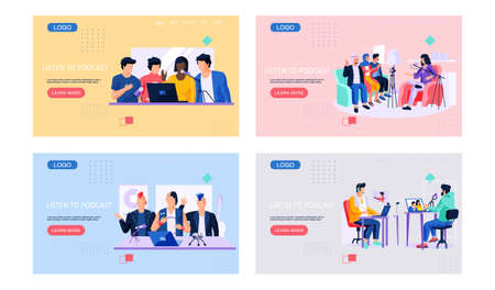 Illustration pour People communicate through podcasts and webinars. Men in recording studio set of four scenes. Internet technology web page, characters speaking into the microphone, guys give interviews record sound - image libre de droit