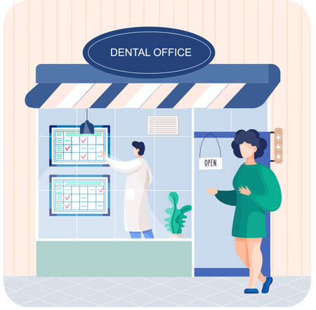 Illustration pour Dental office building doctor talking to patient. Medical stomatology clinic entrance with signboard - image libre de droit