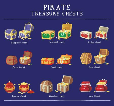 Illustration pour Chest set for game interface. Vector illustration. treasure chest of gold coins diamonds stones - image libre de droit