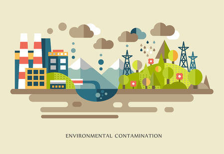 Flat design vector concept illustration with environmental icons environmental pollution, city, factory, smoke, waste, global warming