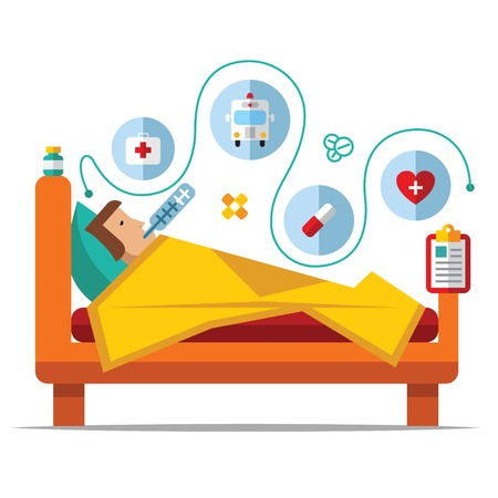 Illustration pour Sick man is in bed and taking thermometer.Vector flat - image libre de droit