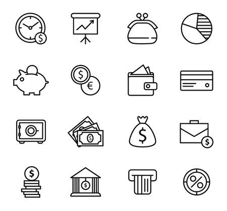 Ilustración de Finance and bank Icon Set. Simple line style black icons on white background - Imagen libre de derechos