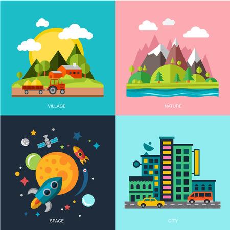 Illustration pour the best deal for your design. Flat design urban landscape illustration - image libre de droit