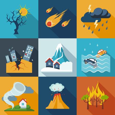 Ilustración de A set of natural disaster icons in fresh colors. - Imagen libre de derechos