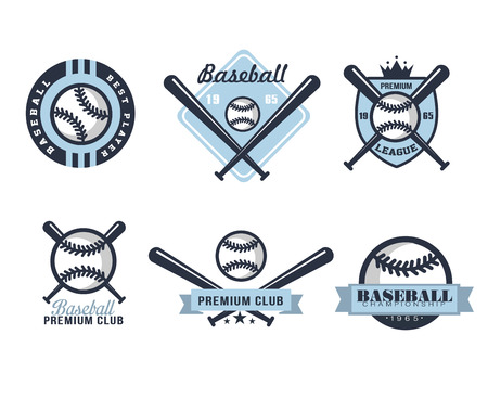 Baseball emblems or badges with various designs vector illustration