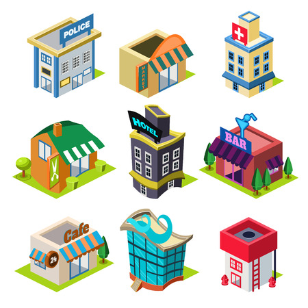 Illustration pour Set of the isometric city buildings and shops, Elements for map - image libre de droit