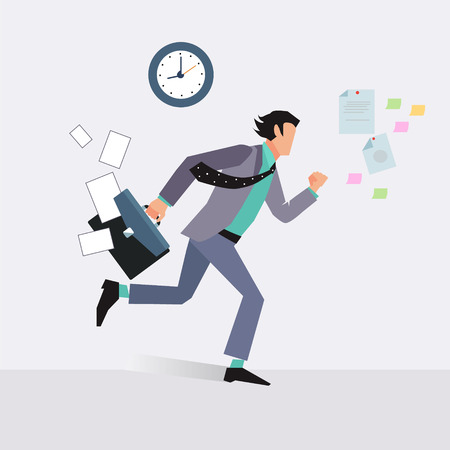 Ilustración de Businessman late for an appointment vector illustration - Imagen libre de derechos