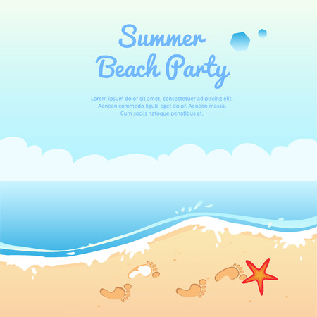 Summer beach party banner, vector illustration with place for your text