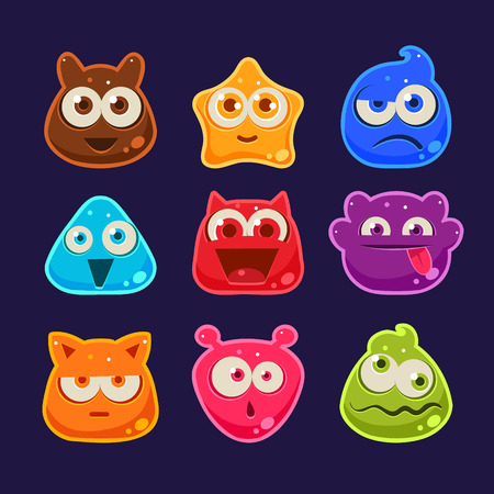 Cute jelly characters with different emotions and colors