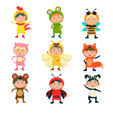 Cute Children Wearing Costumes of Animals Vector Illustration Set