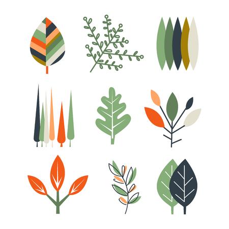 Collection of flat design leaves vector illustration set